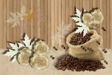 3d wallpaper, coffee beans and flowers on wooden background.