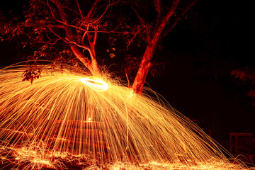 Color of creation by steel wool