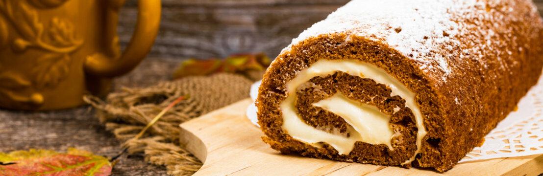 Pumpkin Cake with Cream Cheese Filling. Autumn Baking. Selective focus.