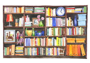 Watercolor illustration. Modern library room with a lot of color books