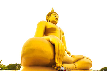 Golden buddha statue on white background