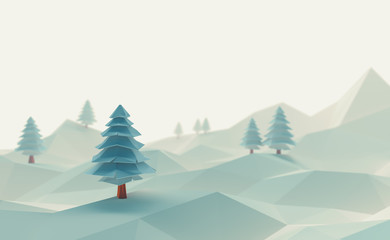 3d illustration winter tree low poly christmas scene background.