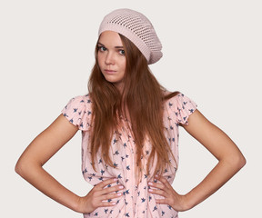 pretty hipster woman wearing hat. Isolated