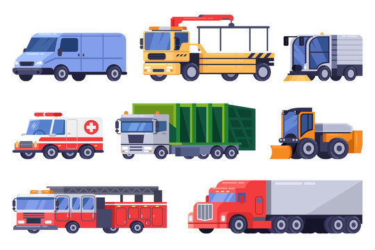Municipal city road transport and machinery equipment set. Vector flat vehicle illustration.