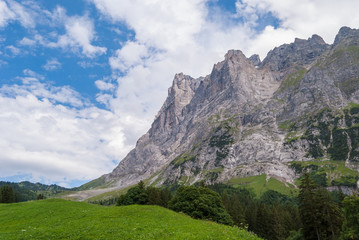 Beautiful Alpine landscape with peak of wetterhorn, Grindelwald Bernese Oberland Switzerland Europe