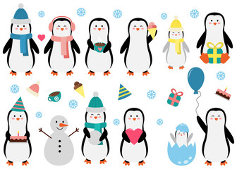 Cute Penguin set in different situations. Funny vector illustration for kids. Penguins with cup of cocoa, snowman, baby, gift, birthday cake, heart, balloon and ice cream.