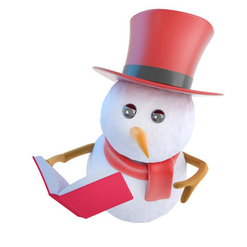 3d Funny cartoon snowman in top hat reading a book
