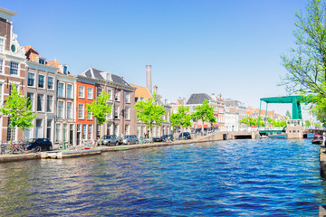 bridge and canals in old historical town of Leiden, Netherlands Fototapete