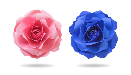 Flower paper on isolated background with clipping path. Origami floral for your design.