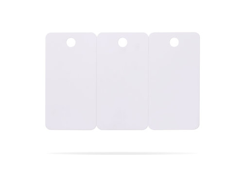 Plastic card set isolated on white background. Price tag or hanging label for your design. ( Clipping paths or cut out object for montage ) Can put text, image, and logo.