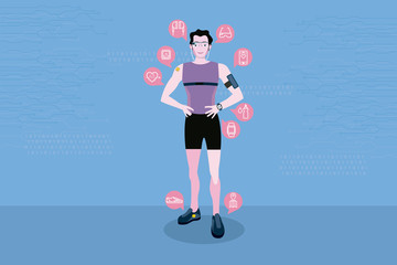 Sport man with wearable technology