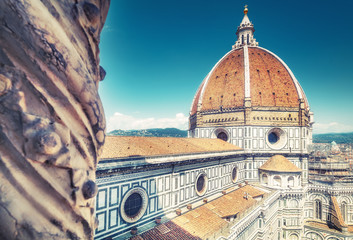 Santa Maria del Fiore cathedral in Florence, Italy in summer. View on the dome.