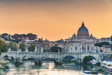 St. Peter's Basilica in Rome, Italy, at sunset. Scenic travel background..