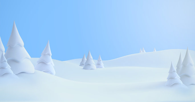 Winter landscape with snowdrifts and snowy fir trees.