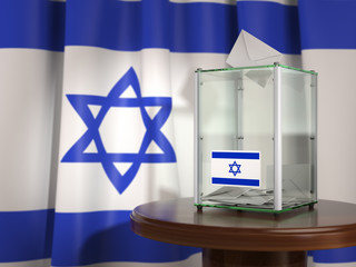 Ballot box with flag of Israel and voting papers. Israelitish presidential or parliamentary election.