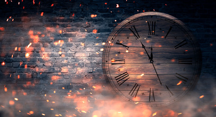 Brick wall background, antique clock, neon light, bright sparks of burning time, smoke. Dark background of empty interior.