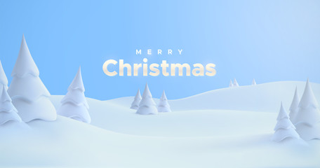 Merry Christmas. Winter holiday landscape