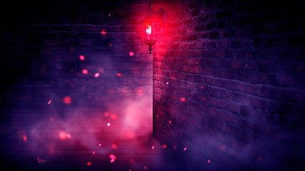 A dark street, a red lantern, a brick wall, smoke, a corner of the building, a lantern shining. Night scene, club neon light. Night city and neon light. Fotomurales