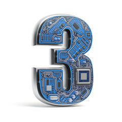 Number 3 three, Alphabet in circuit board style. Digital hi-tech letter isolated on white.