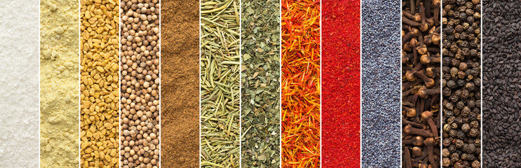 Fototapete - panoramic collage of spices and herbs isolated background. seasoning texture for food packaging design. collection of colorful flavoring, top view.
