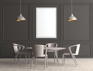 Modern dining room with poster frame mock up. 3d illustration.