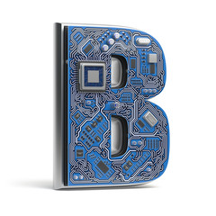 Letter B, Alphabet in circuit board style. Digital hi-tech letter isolated on white.