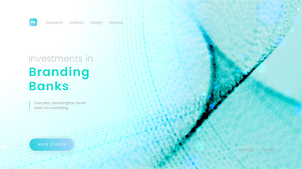 Landing page template with abstract blue particles - Investments in Branding Banks, can be used for corporate business, economic projects and financial theme web sites