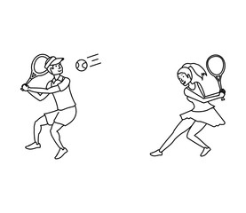 tennis player photos royalty free images graphics vectors Chinese Ping Pong Player couple playing tennis avatar character