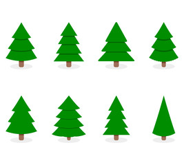 Green xmas tree set isolated on white