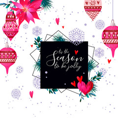 Christmas holiday card in primitive style
