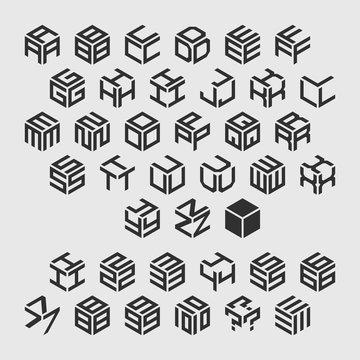 Geometric alphabet with numbers. Vector isometric logos.