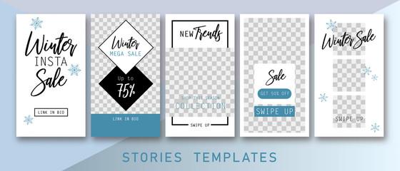 Instagram stories templates. Winter insta sale. Winter sale. Stories templates. Clean & Modern