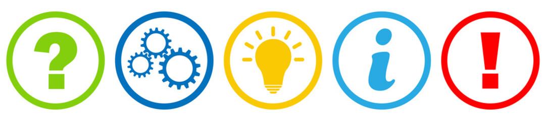 Buttons / Fragezeichen / Zahnrad / Idee / Information / Achtung / Zeichen / Symbol