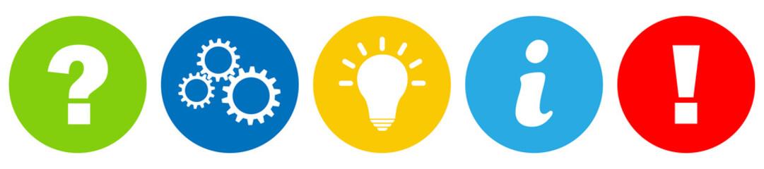 Buttons / Fragezeichen / Zahnrad / Idee / Info / Achtung / Zeichen / Symbol / Einfach