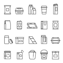 Food packaging symbols, line art icon set