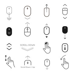 Scroll down and button up icon set