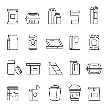 Food packaging symbols, line art icon set