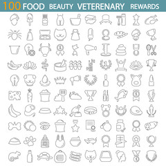 Food. Beauty. Veterenary shop. Rewards and medals line icons set