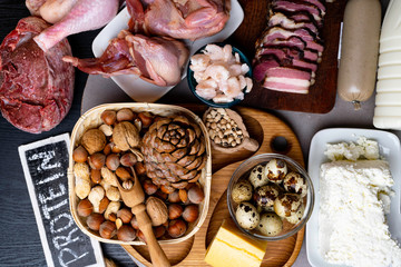 High protein foods. Top view Healthy eating concept