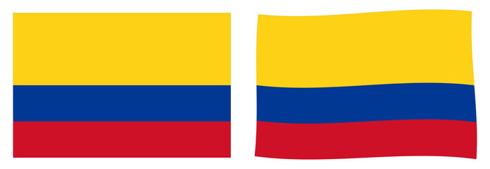 Republic of Colombia flag. Simple and slightly waving version.