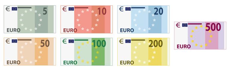Euro Scheine / Währung / Banknoten / Geldscheine
