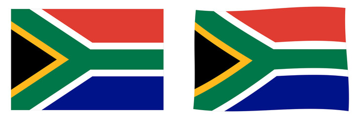 Republic of South Africa (RSA) flag. Simple and slightly waving version.