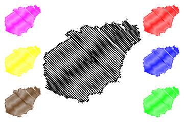 Hainan Province (Administrative divisions of China, China, People's Republic of China, PRC) map vector illustration, scribble sketch Hainan Island map