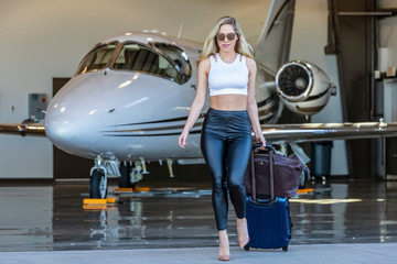 Glamorous Blonde Model Travels On A Private Jet For Her Vacation