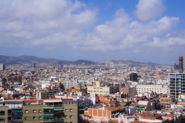View of the cityscape from the hill, Barcelona, Spain