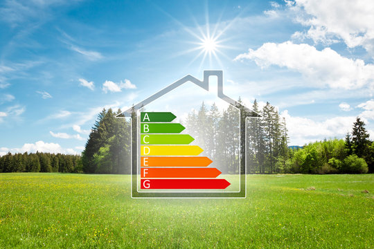 house in the green with energy efficiency graph