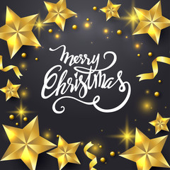 Merry Christmas background design. Vector logo, typography. Usable as banner, greeting card, gift package etc.