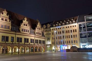 Marktplatz in Leipzig bei Nacht