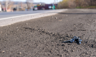 Lost bunch of keys lying on the side of the road near the asphalt pavement of the roadway