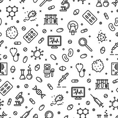 Seamless pattern medicine, laboratory, lab tests & healthcare, medical equipment, tools. Vector illustration. Medical science, microbiology, virology study, immune system and genetics analysis.